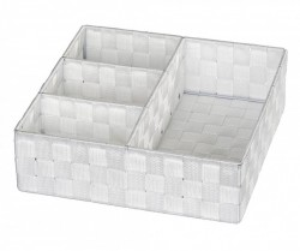 Cos patrat alb textil pentru sertar 32x10 cm Adria Wenko