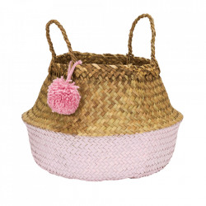 Cos roz/maro din fibre naturale Pompom Large Kids Depot