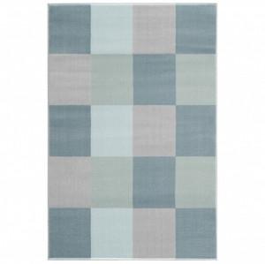 Covor albastru/multicolor din iuta si polipropilena Checkerboard Livone (diverse dimensiuni)