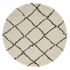 Covor crem/negru din polipropilena Allure Hash Cream Black Round Mint Rugs (diverse dimensiuni)
