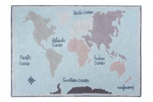 Covor dreptunghiular multicolor din bumbac pentru copii 140x200 cm Vintage Map Lorena Canals