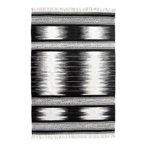 Covor lucrat manual din lana 120 x 180 cm alb/negru HK Living
