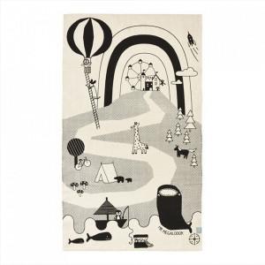 Covor negru/alb antic din bumbac 90x150 cm Mr. Megalodon Adventure Oyoy
