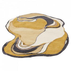 Covor ocru din lana si viscoza 140x180 cm Earth Bolia