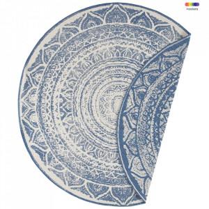 Covor reversibil albastru/crem din polipropilena pentru exterior 200 cm Twin Supreme Blue Cream Bougari