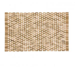 Covoras dreptunghiular maro din lemn de tec pentru baie 30x47 cm Azalea Kave Home