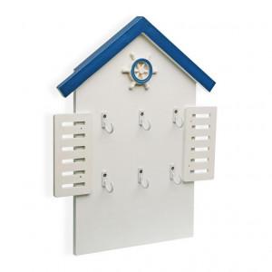 Cuier alb/albastru din lemn pentru chei Blue Sea Key Versa Home