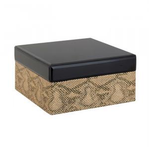 Cutie cu capac neagra din sticla si piele pentru bijuterii Jalina Richmond Interiors