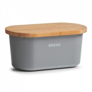 Cutie gri/maro din melamina si lemn cu capac pentru paine Thiago Zeller