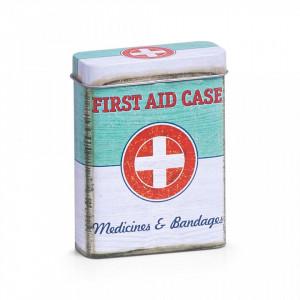 Cutie multicolora cu capac din metal pentru medicamente First Aid Zeller