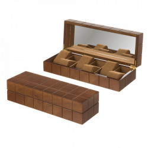 Cutie pentru ceasuri maro din MDF Gustavo Unimasa