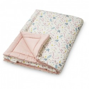 Cuvertura matlasata din bumbac pentru copii 90x120 cm Giulia Pressed Leaves Rose Cam Cam