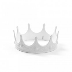 Decoratiune alba din portelan 7,5 cm My Crown Seletti