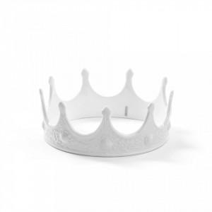 Decoratiune alba din portelan 7,5 cm My Crown Seletti