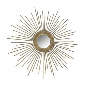 Decoratiune cu oglinda aurie din fier pentru perete 34 cm Sunny Be Pure Home
