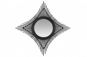 Decoratiune cu oglinda neagra din ratan pentru perete 70 cm Star Versmissen