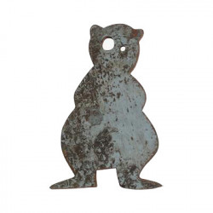 Decoratiune de perete gri din lemn reciclat 19x27 cm Bear Raw Materials