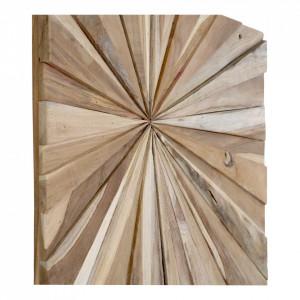 Decoratiune de perete maro din lemn de tec 60x60 cm Almonto House Nordic