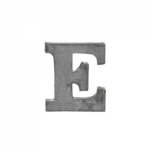 Decoratiune gri din fier 5,5 cm Letter E Madam Stoltz