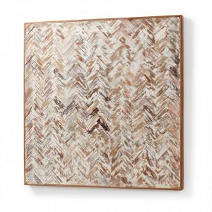 Decoratiune maro/alba din lemn pentru perete 80x80 cm River La Forma