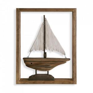 Decoratiune maro/alba din lemn si metal pentru perete 34,5x44 cm Sailboat Versa Home