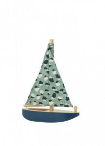 Decoratiune multicolora din lemn si bumbac pentru copii Boat Nofred