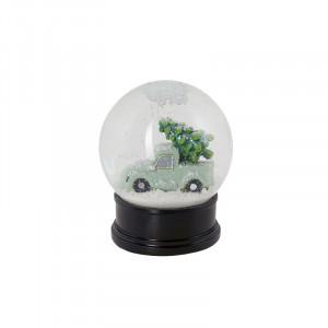Decoratiune muzicala neagra/verde din sticla si polirasina 13 cm Noel LifeStyle Home Collection