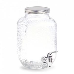 Dozator transparent/argintiu din sticla si metal pentru bauturi 3,7 L Mariam Zeller