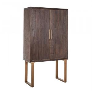 Dulap maro/auriu antic din lemn de ulm si metal 180 cm Cromford Mill Richmond Interiors