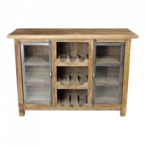 Dulapior cu suport pentru sticle multicolor din lemn si fier Hunter HSM Collection
