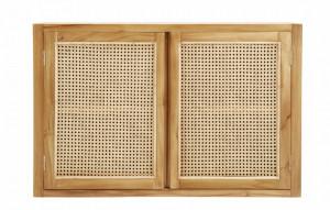 Dulapior maro din lemn si ratan pentru perete Merge Buffet Teak Nordal