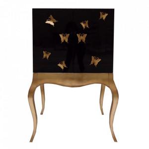 Dulapior negru/auriu din lemn de brad Oros Denzzo