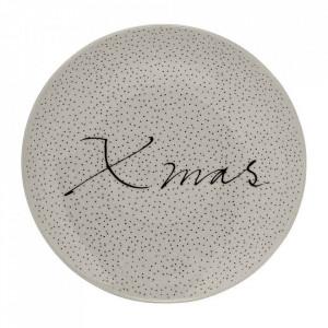 Farfurie alba din ceramica 16 cm Xmas Bloomingville