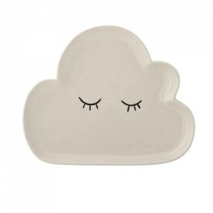 Farfurie alba din ceramica 16x20 cm Cloud Bloomingville