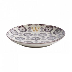 Farfurie pentru desert multicolora din ceramica 20 cm W Letter Nordal