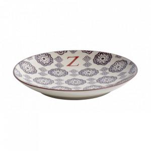 Farfurie pentru desert multicolora din ceramica 20 cm Z Letter Nordal