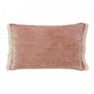 Fata de perna roz din catifea cu franjuri 65x40 cm Fringes Nordal