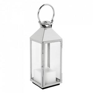 Felinar argintiu din sticla si inox 67 cm Vanini Eichholtz