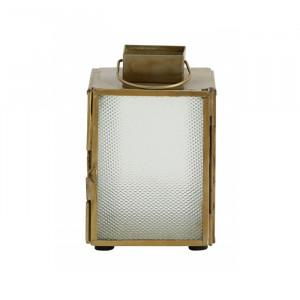 Felinar din fier si sticla 12 cm Islay Frosted Brass Nordal