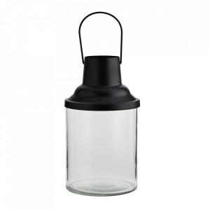 Felinar negru/transparent din fier si sticla 24 cm Lavias Madam Stoltz