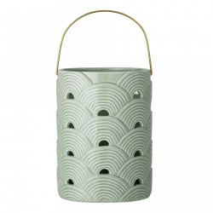 Felinar verde din ceramica 20 cm Lines Bloomingville
