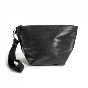 Geanta clutch neagra din piele Ariq Serax