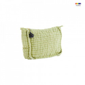 Geanta galbena/gri din in 17x21 cm pentru cosmetice Lemon Toilet Bag Madam Stoltz