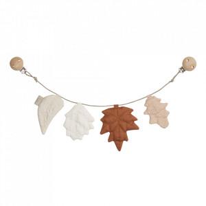 Ghirlanda decorativa multicolora din bumbac organic Pram Leaves Caramel Cam Cam
