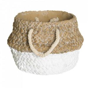 Ghiveci alb/maro din ciment 21,5 cm Angola Ixia