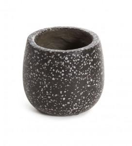 Ghiveci negru din terrazzo 15 cm Braydon Round Kave Home