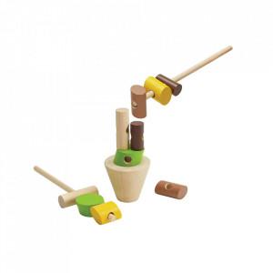 Joc de construit 13 piese multicolor din lemn Stacking Logs Plan Toys