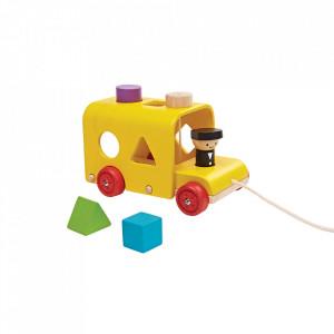 Jucarie de tras multicolora din lemn Sorting Bus Plan Toys