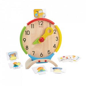 Jucarie educativa multicolora din lemn Activity Clock Plan Toys