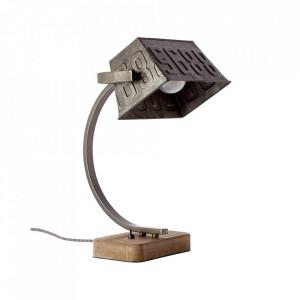 Lampa birou maro/negru otel din metal si lemn 38 cm Drake Brilliant
